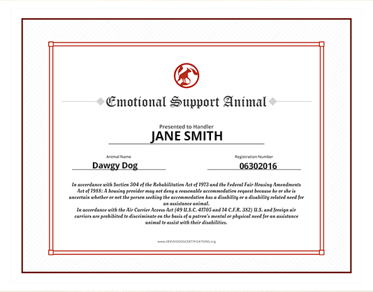 Emotional support animal id service dog certifications spiritdancerdesigns