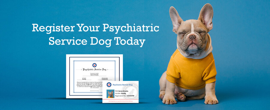 Psychiatric service dog registration banner.